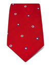 Red Woven Silk Tie with Royal Blue & White Circles