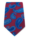 Wine Woven Silk Tie with Blue & Navy Spaced Paisley