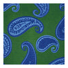 Green Woven Silk Tie with Blue & Navy Spaced Paisley