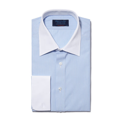 Contemporary Fit, White Classic Collar, White Double Cuff Shirt in a Light Blue & White Bengal Stripe Poplin Cotton
