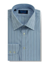 Classic Fit, Classic Collar, 2 Button Cuff Shirt in a Blue, Navy & White Stripe Poplin Cotton