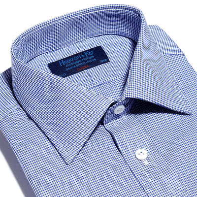 Navy Houndstooth Cotton Classic Fit, Classic Collar, Double Cuff Shirt