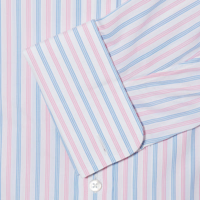 Classic Fit, Classic Collar, Double Cuff Shirt in a Pink & Blue Stripe Poplin Cotton