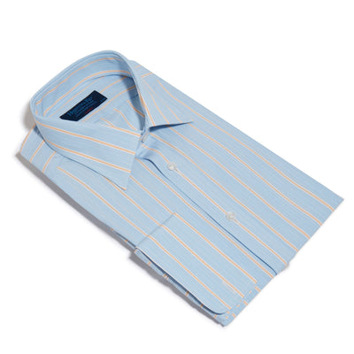 Classic Fit, Classic Collar, Double Cuff Shirt in a Yellow & Blue Stripe Poplin Cotton