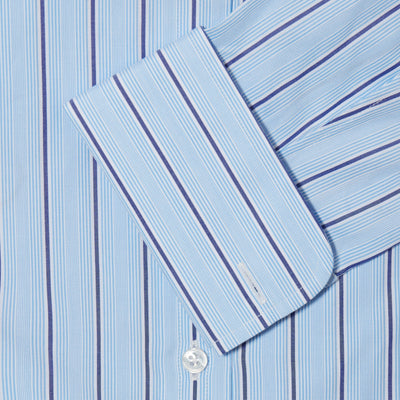 Classic Fit, Classic Collar, Double Cuff Shirt in a Navy & Blue Stripe Poplin Cotton