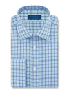 Classic Fit, Classic Collar, Double Cuff Shirt in a Navy, Blue & White Graph Check Poplin Cotton