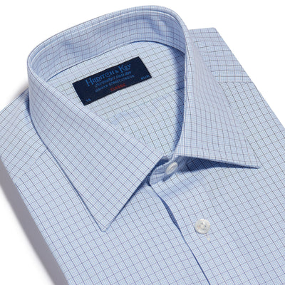 Classic Fit, Classic Collar, Double Cuff Shirt in a Blue & Navy Graph Overcheck Poplin Cotton