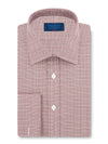 Classic Fit, Classic Collar, Double Cuff Shirt in a Wine & White Prince Of Wales Check Twill Cotton