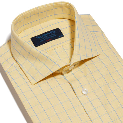 Classic Fit, Cut-away Collar, 2 Button Cuff Shirt in a Yellow & Blue Line Check Poplin Cotton