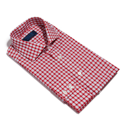 Classic Fit, Cut-away Collar, 2 Button Cuff Shirt in a Red, Blue & White Check Poplin Cotton
