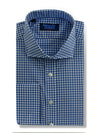 Classic Fit, Cut-away Collar, Double Cuff Shirt in a Blue & White Medium Check Poplin Cotton