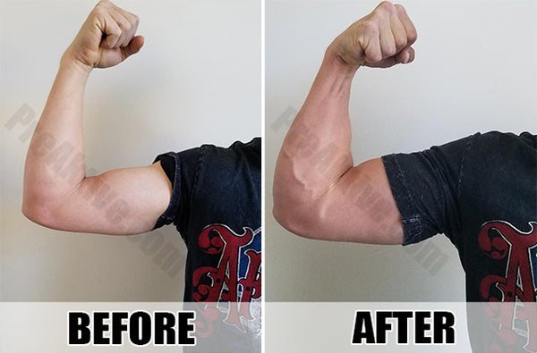 Before and After Biceps Pre-Workout Pump