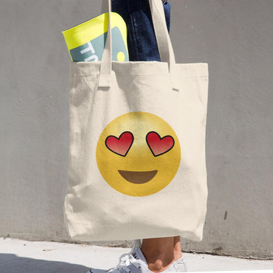 In Love Emoji Cotton Tote Bag - Chipmunks Hub