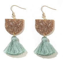 Emeldo- Annie Earrings/ gold and sage