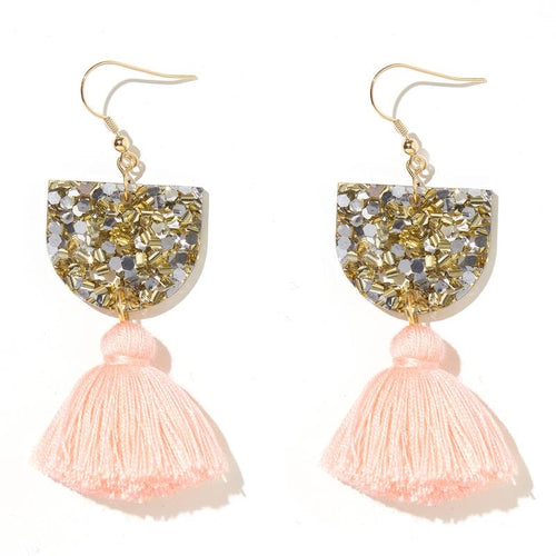 Emeldo Annie Earrings/ Gold + Silver and Peach