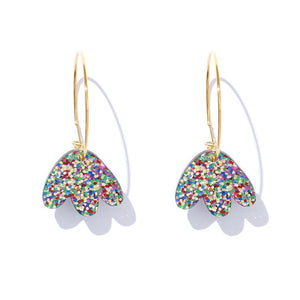 Emeldo- HEIDI HOOPS // RAINBOW GLITTER ON GOLD