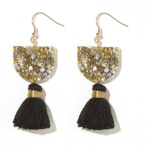 Emeldo- Annie Earrings/ Silver and Gold with black