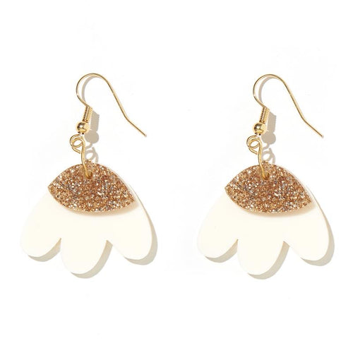 Emeldo Elle Earrings | Gold Glitter and Cream