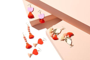 Emeldo- Annie Earrings/ Lavender with neon orange/ red