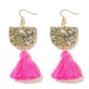 Emeldo- Annie Earrings/ Silver and Gold with barbie pink