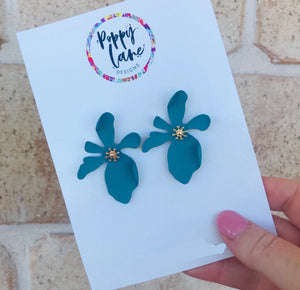 Floral Earring- Teal