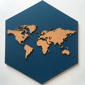 GEO 101 Design - Cork Hexagon World Map - Highly Detailed, Wall Decor - GEO 101 DESIGN