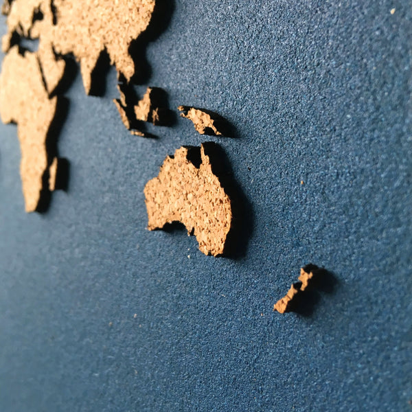 GEO 101 Design - Cork Hexagon World Map - Highly Detailed
