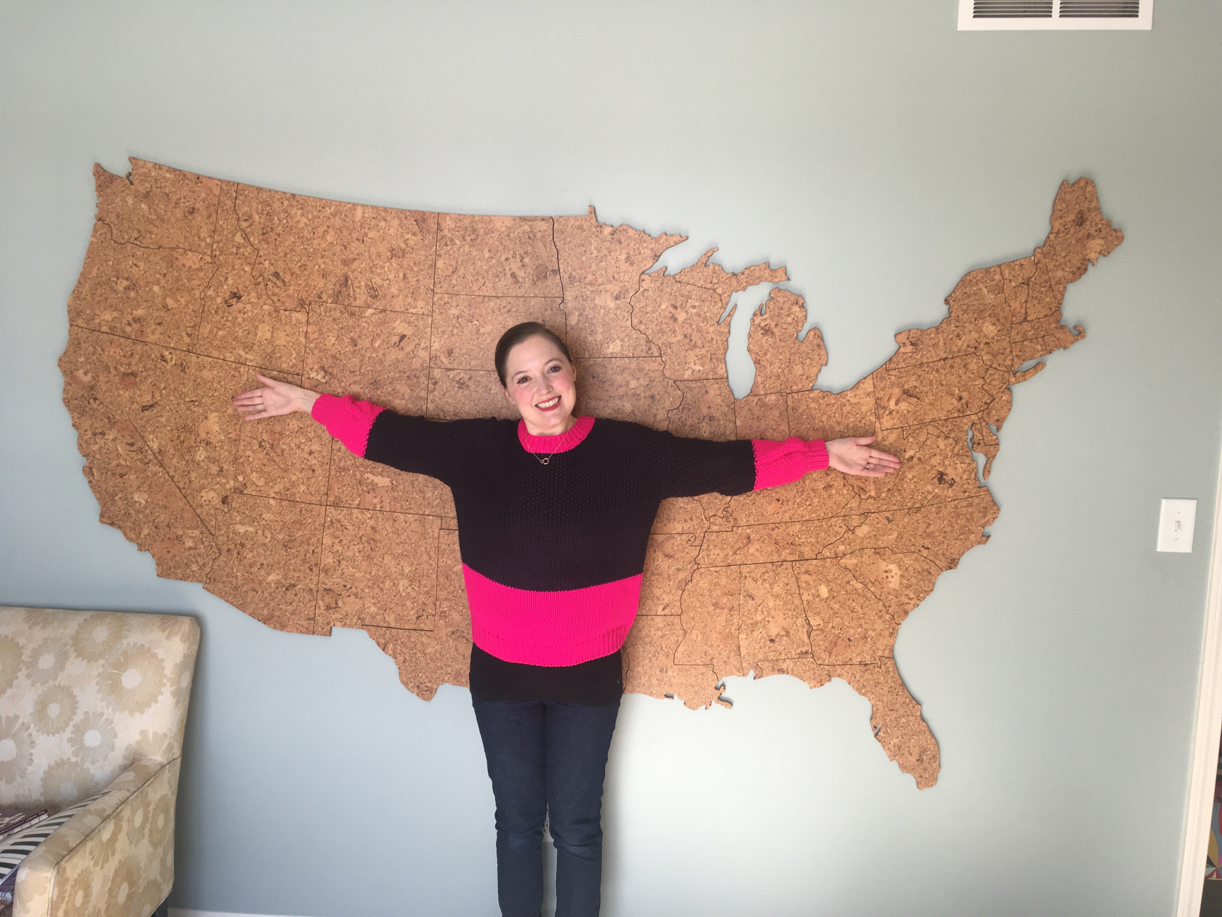 Giant Cork Wall Map of the United States - 8 Foot Wide, Wall Decor - GEO 101 DESIGN