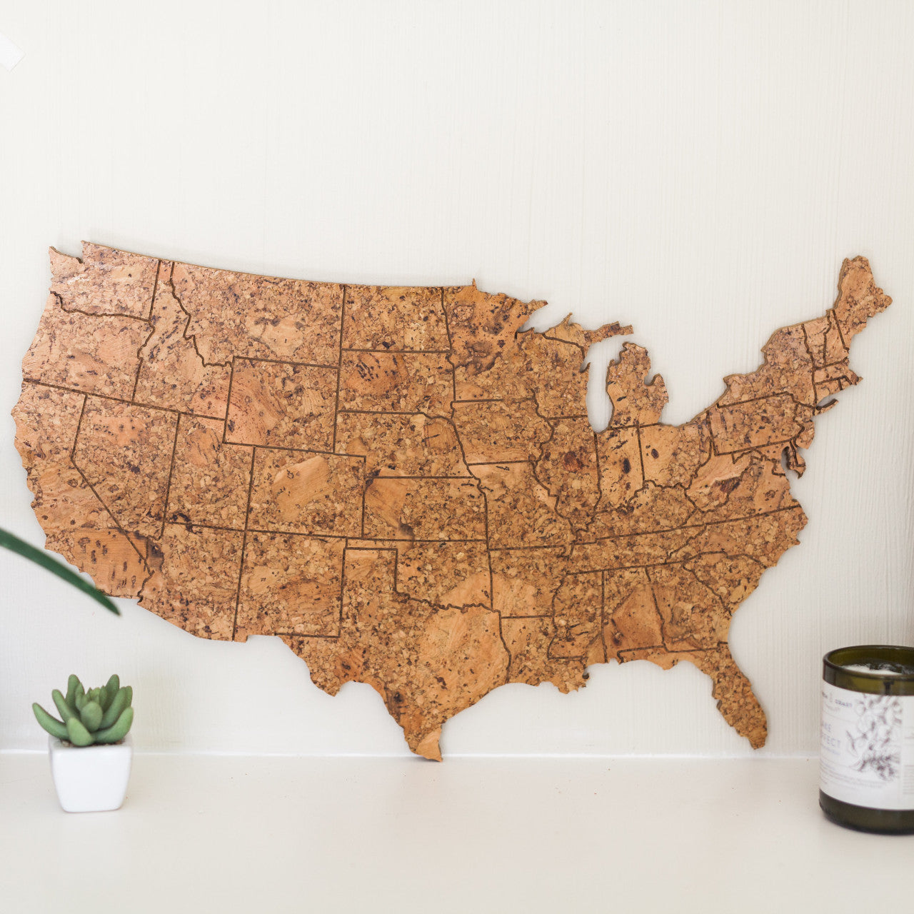 GEO 101 Design - Cork Map of the United States - Medium Size, Wall Decor - GEO 101 DESIGN
