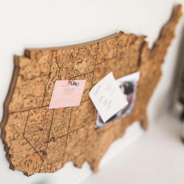 Cork Map of the United States - Medium Size, Wall Decor - GEO 101 DESIGN
