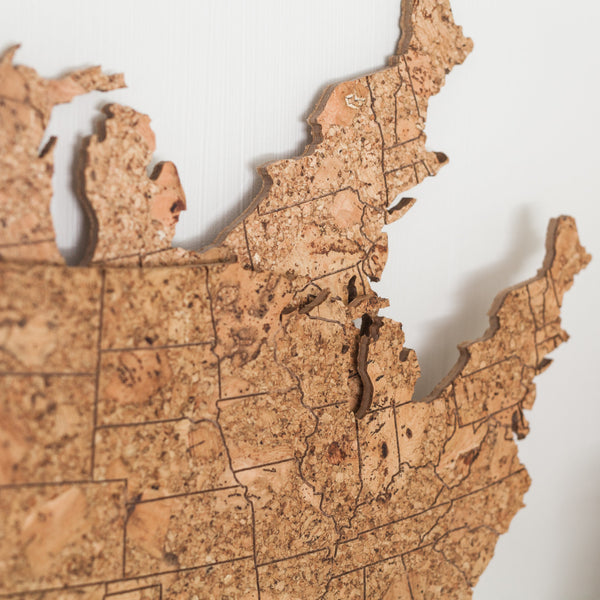 GEO 101 Design - Cork Map of the United States - Large Size, Wall Decor - GEO 101 DESIGN