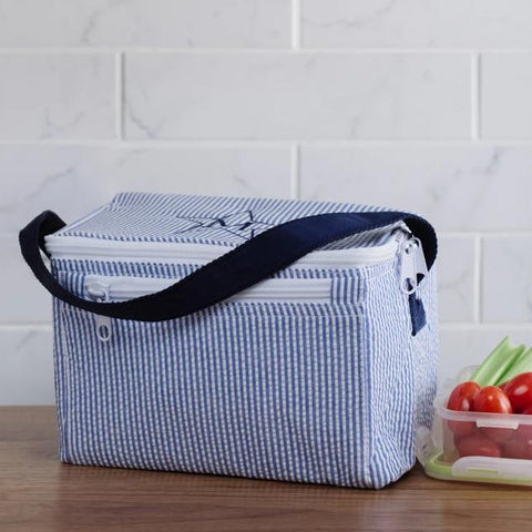 Navy Seersucker Lunchbox