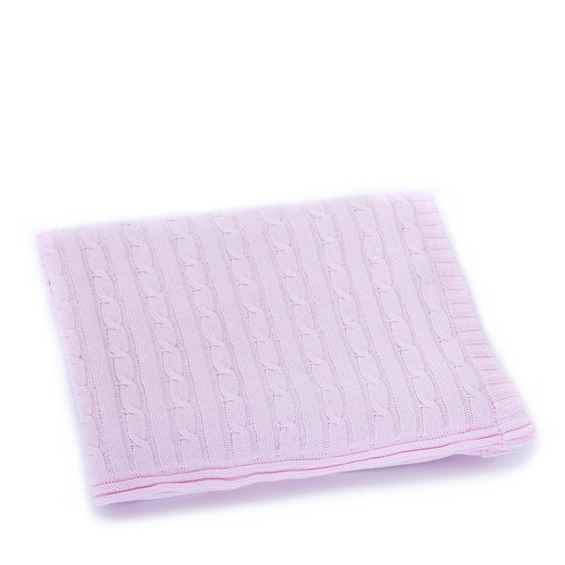 Pink Cable Knit Sherpa Blanket