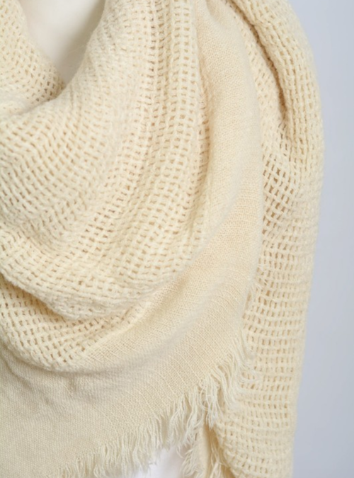 Warm Olive Open Weave Square Scarf / Blanket