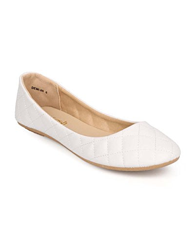 Women Quilted Leatherette Round Toe Slip On Ballet Flat