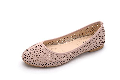 Perforated Slip on Women's Ballerina Flat Shoes Pink
