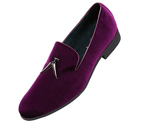 Mens Velvet Smoking Slipper with Metal Horn Tassel,