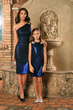 Blue Navy Stretchy Metallic Evening Chic Cocktail