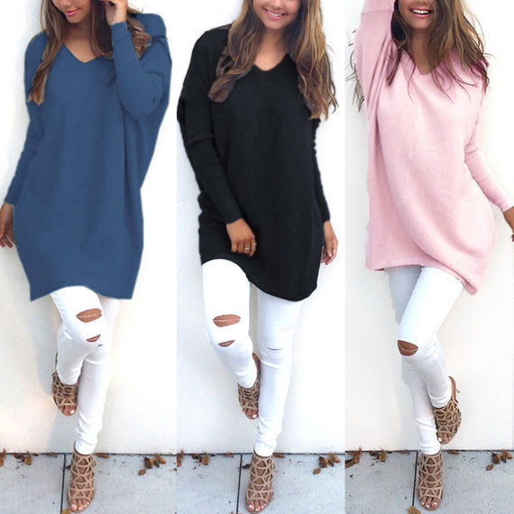 Women's Autumn Knitted V Neck Long Sleeve Sweater