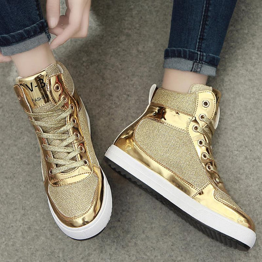 women's crystal patent leather with glitter canvas high top causal shoes