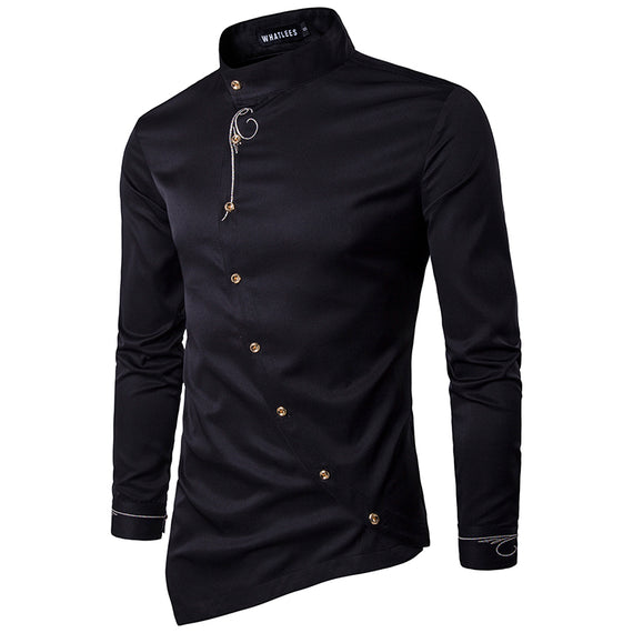 Oblique Button Irregular  Casual Long Sleeve Slim Fit Shirt