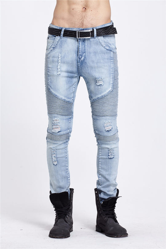 Casual Denim distressed Men's Slim Jeans pants