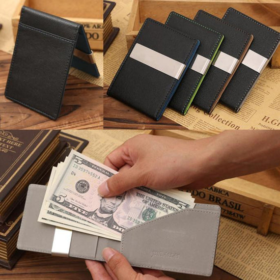 Men's Leather Magic Credit Card ID Holder Money Clip Wallet