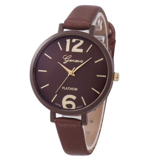 Geneva watch women Faux Leather Quartz wrist watches