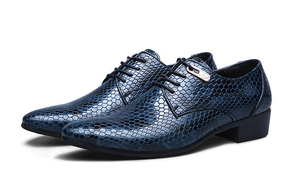 New Imitate Snake Leather Men Oxford Shoes Lace Up