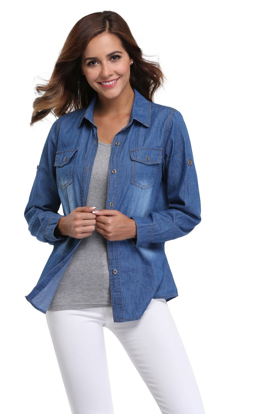 Chambray Denim Long Sleeve Jeans Shirt
