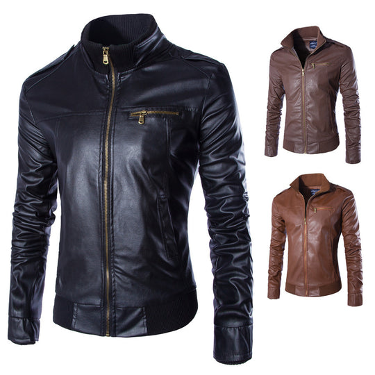 Motorcycle Leather Solid Colour Bomber Jacket