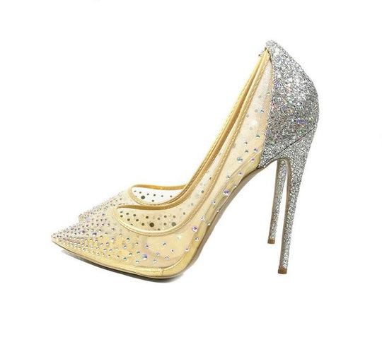 silver bling fashion design women's high heel