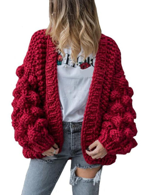 Knitted Crochet Chunky Oversize Cardigan Coat