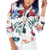 Ribbed Trim Flower Print Bomber Jacket